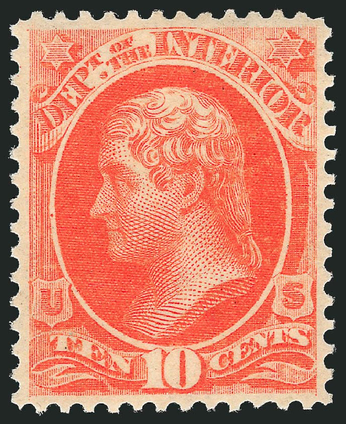 Price of US Stamp Scott Catalog #O19: 1873 10c Interior Official. Robert Siegel Auction Galleries, Jun 2011, Sale 1011, Lot 885