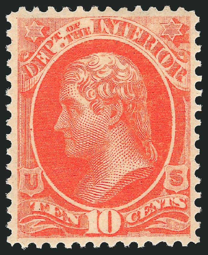 Price of US Stamp Scott Catalog #O19: 1873 10c Interior Official. Robert Siegel Auction Galleries, Jun 2011, Sale 1011, Lot 885