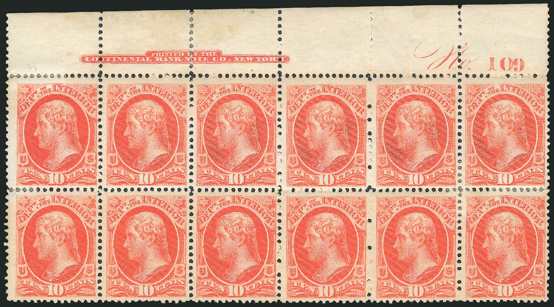 Value of US Stamp Scott O19 - 10c 1873 Interior Official. Robert Siegel Auction Galleries, Mar 2013, Sale 1040, Lot 2152