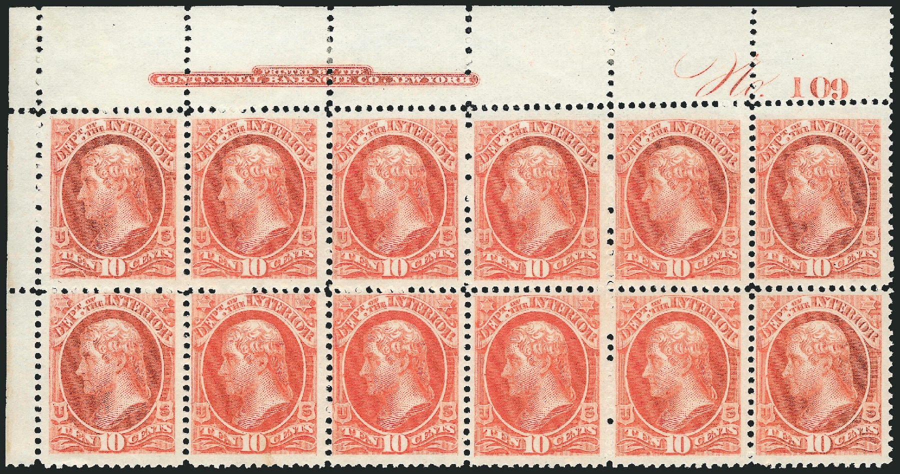 Value of US Stamps Scott Cat. #O19 - 10c 1873 Interior Official. Robert Siegel Auction Galleries, Jul 2014, Sale 1077, Lot 443