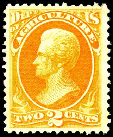 US Stamp Values Scott O2: 2c 1873 Agriculture Official. Matthew Bennett International, Jun 2008, Sale 328, Lot 1209