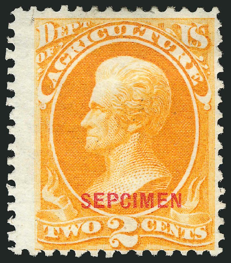 Values of US Stamp Scott Catalog #O2: 1873 2c Agriculture Official. Robert Siegel Auction Galleries, Mar 2015, Sale 1095, Lot 521