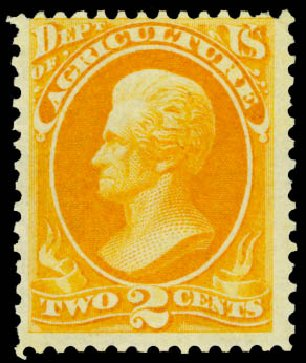 US Stamp Prices Scott Cat. #O2 - 1873 2c Agriculture Official. Daniel Kelleher Auctions, Dec 2013, Sale 640, Lot 584