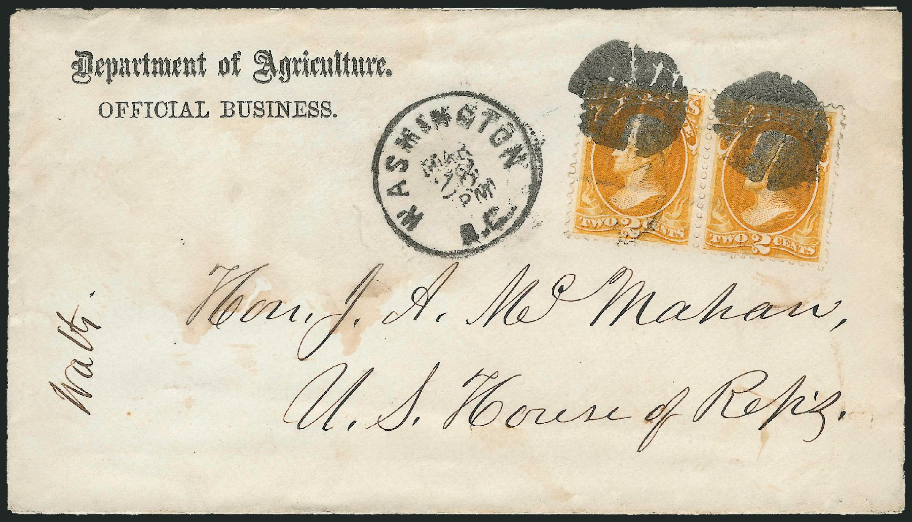Price of US Stamp Scott #O2: 1873 2c Agriculture Official. Robert Siegel Auction Galleries, Dec 2010, Sale 1003, Lot 5584