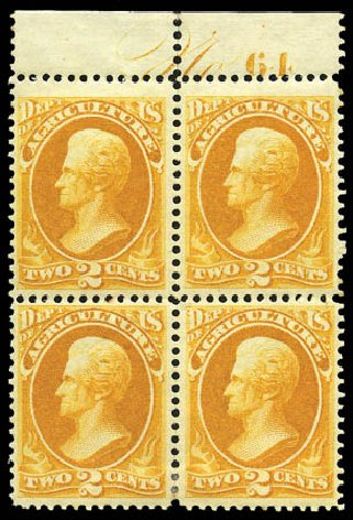 US Stamps Prices Scott O2 - 2c 1873 Agriculture Official. Matthew Bennett International, Mar 2011, Sale 336, Lot 1385