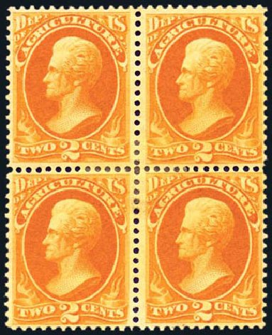 Values of US Stamps Scott Cat. # O2 - 1873 2c Agriculture Official. Harmer-Schau Auction Galleries, Aug 2011, Sale 90, Lot 1695