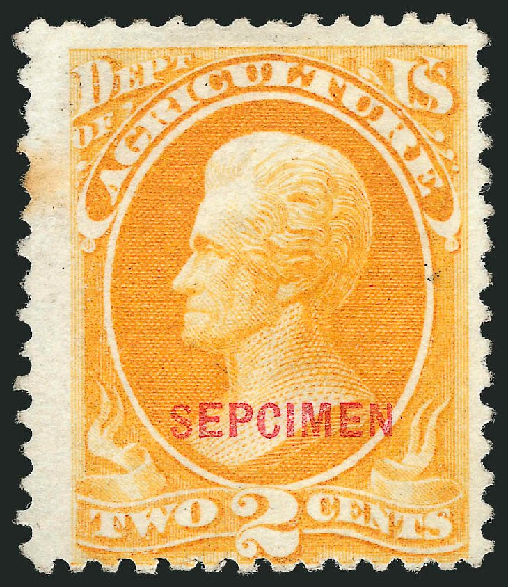 Values of US Stamp Scott Cat. O2: 1873 2c Agriculture Official. Robert Siegel Auction Galleries, Oct 2010, Sale 997, Lot 6295