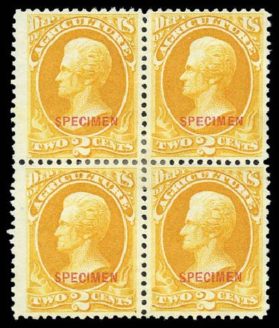 Cost of US Stamps Scott O2: 1873 2c Agriculture Official. Matthew Bennett International, Sep 2010, Sale 333, Lot 4002