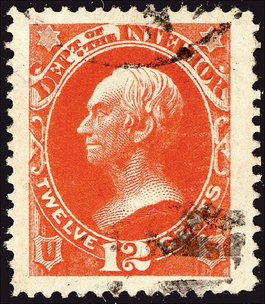 Costs of US Stamp Scott O20 - 12c 1873 Interior Official. Spink Shreves Galleries, Jan 2014, Sale 146, Lot 528