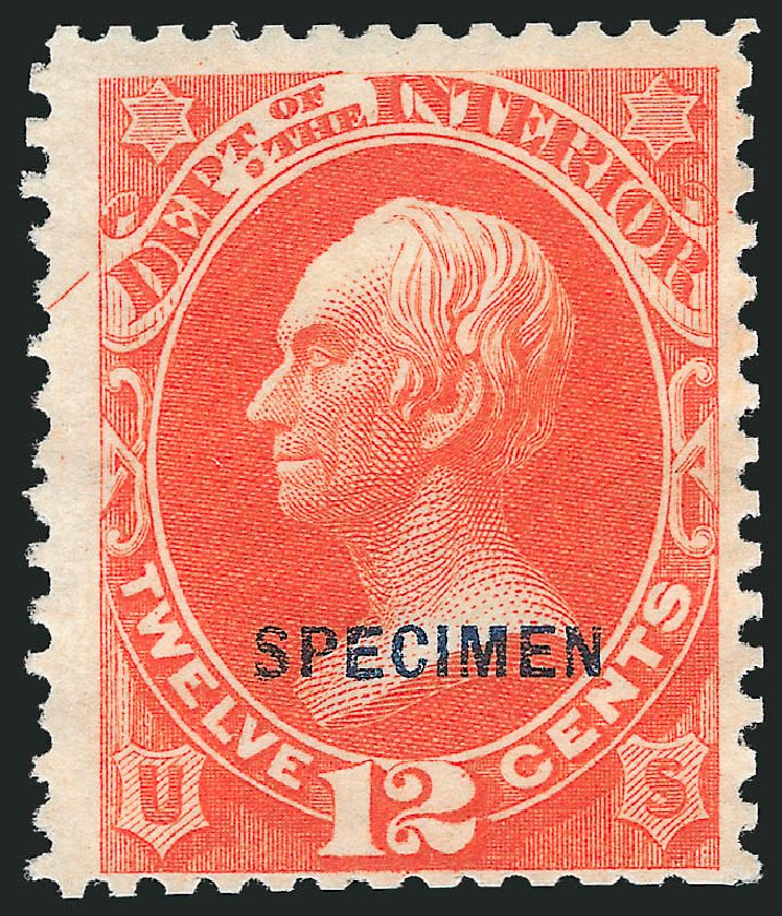 US Stamp Value Scott Catalog # O20 - 1873 12c Interior Official. Robert Siegel Auction Galleries, Mar 2015, Sale 1095, Lot 540