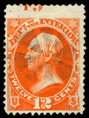 Prices of US Stamp Scott Catalogue O20: 12c 1873 Interior Official. Daniel Kelleher Auctions, May 2015, Sale 669, Lot 3344
