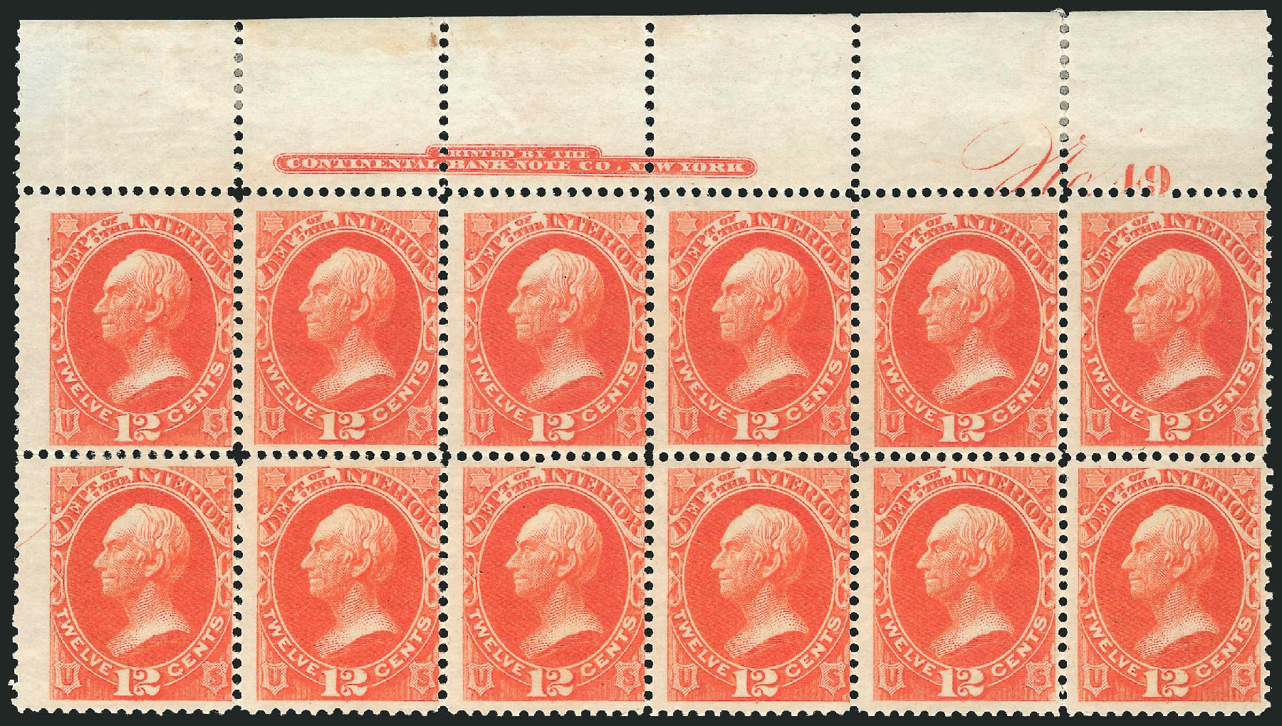 US Stamps Values Scott Cat. #O20 - 1873 12c Interior Official. Robert Siegel Auction Galleries, Jul 2014, Sale 1077, Lot 444