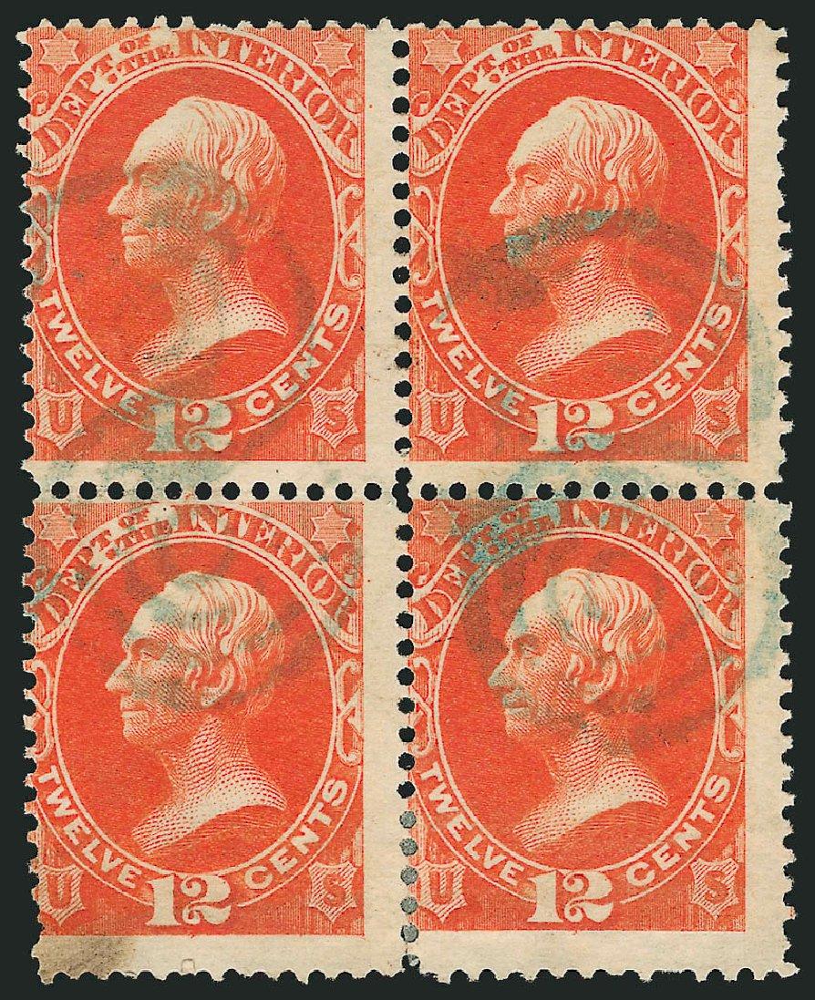 US Stamp Prices Scott Catalogue # O20 - 12c 1873 Interior Official. Robert Siegel Auction Galleries, Nov 2014, Sale 1085, Lot 4044
