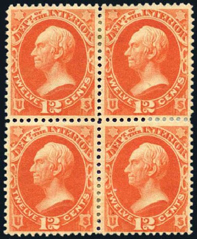 US Stamp Price Scott Catalog O20 - 1873 12c Interior Official. Harmer-Schau Auction Galleries, Aug 2011, Sale 90, Lot 1712