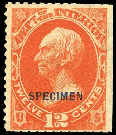 Cost of US Stamps Scott Catalogue O20 - 1873 12c Interior Official. Matthew Bennett International, Sep 2011, Sale 338, Lot 2043