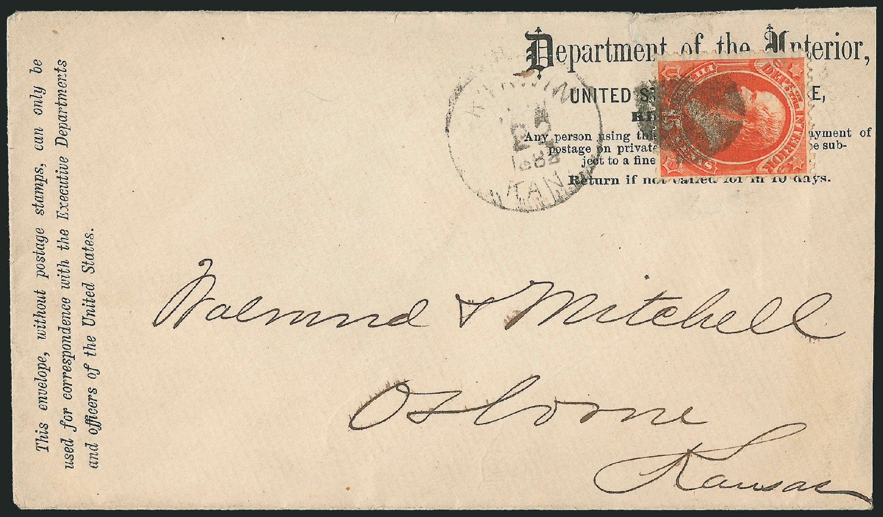 Costs of US Stamps Scott Cat. O21 - 15c 1873 Interior Official. Robert Siegel Auction Galleries, Nov 2014, Sale 1085, Lot 4048