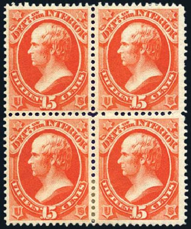 US Stamp Prices Scott O21 - 15c 1873 Interior Official. Harmer-Schau Auction Galleries, Aug 2011, Sale 90, Lot 1713