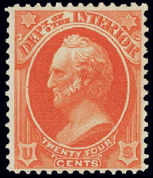 Costs of US Stamps Scott #O22: 24c 1873 Interior Official. Matthew Bennett International, Jun 2008, Sale 328, Lot 1219