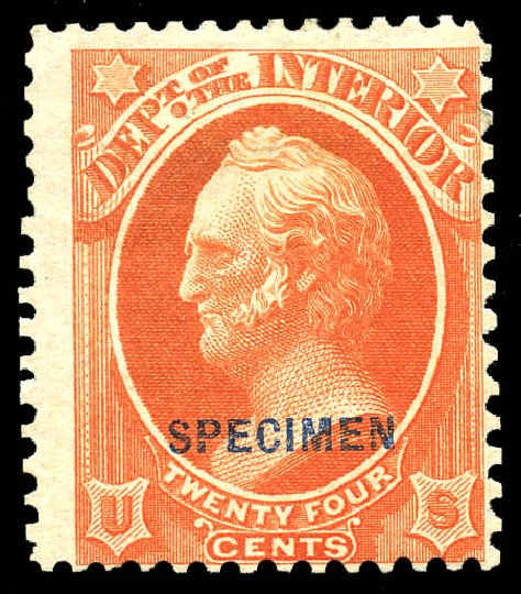 Costs of US Stamps Scott Catalog # O22 - 1873 24c Interior Official. Matthew Bennett International, May 2014, Sale 350, Lot 689