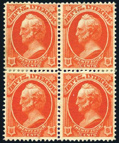 US Stamps Value Scott Catalogue #O22: 1873 24c Interior Official. Harmer-Schau Auction Galleries, Aug 2011, Sale 90, Lot 1714