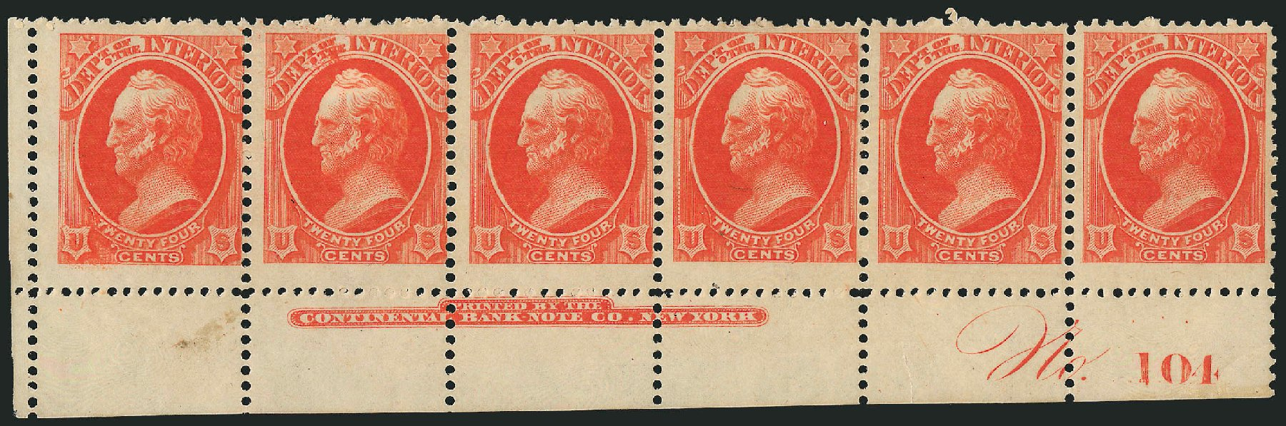 Prices of US Stamps Scott Catalogue #O22: 24c 1873 Interior Official. Robert Siegel Auction Galleries, Jul 2014, Sale 1077, Lot 445