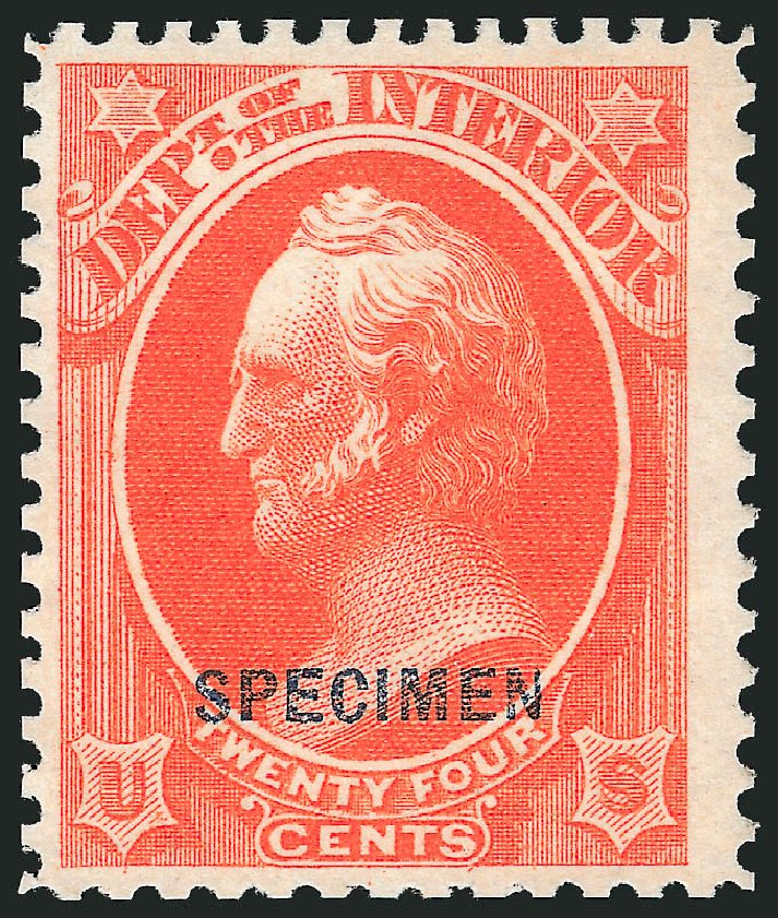 Costs of US Stamps Scott Cat. # O22 - 24c 1873 Interior Official. Robert Siegel Auction Galleries, Mar 2015, Sale 1095, Lot 542