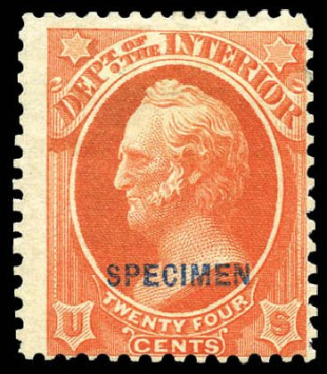 US Stamps Prices Scott Cat. O22: 24c 1873 Interior Official. Matthew Bennett International, Mar 2011, Sale 337, Lot 3173
