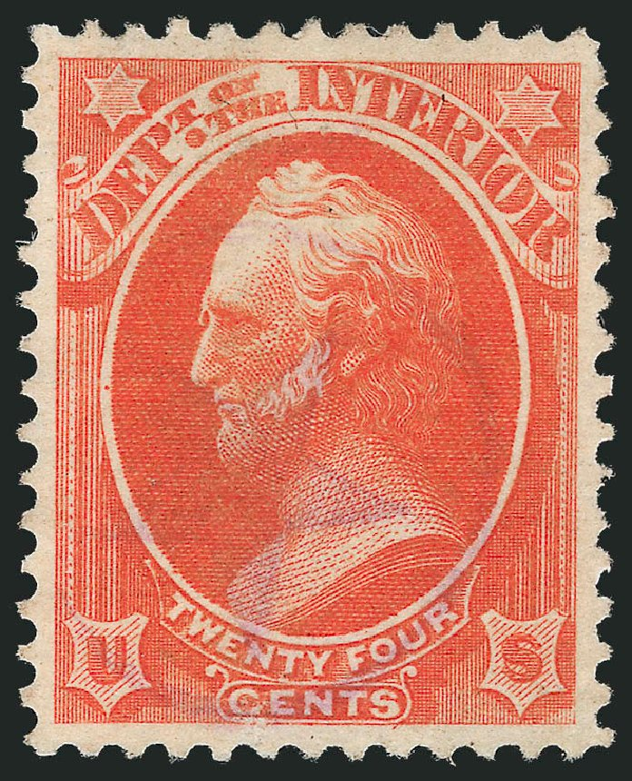 Price of US Stamps Scott Cat. #O22 - 24c 1873 Interior Official. Robert Siegel Auction Galleries, Oct 2012, Sale 1032, Lot 3653