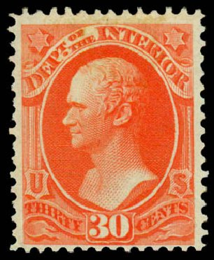 Values of US Stamps Scott #O23 - 1873 30c Interior Official. Daniel Kelleher Auctions, Sep 2013, Sale 639, Lot 3797