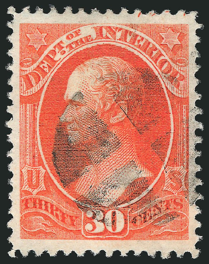 US Stamp Values Scott Catalog O23: 30c 1873 Interior Official. Robert Siegel Auction Galleries, Mar 2012, Sale 1019, Lot 968