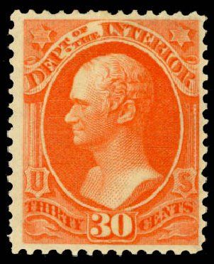 Prices of US Stamps Scott # O23: 30c 1873 Interior Official. Daniel Kelleher Auctions, Aug 2015, Sale 672, Lot 2979