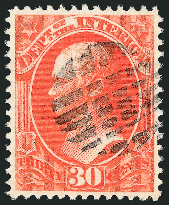 US Stamp Prices Scott O23: 30c 1873 Interior Official. Robert Siegel Auction Galleries, Oct 2012, Sale 1032, Lot 3655