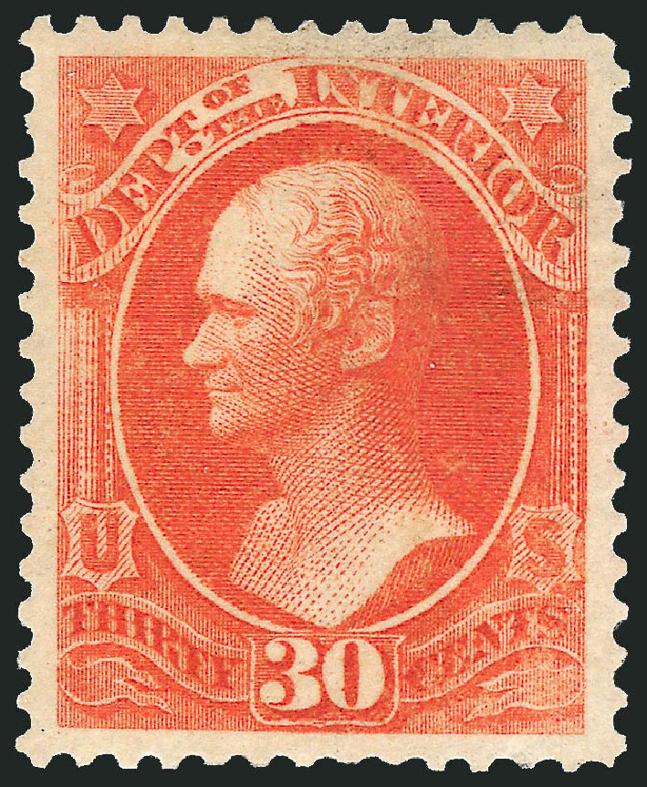 Cost of US Stamps Scott Catalog # O23: 30c 1873 Interior Official. Robert Siegel Auction Galleries, Nov 2014, Sale 1085, Lot 4045
