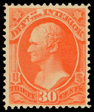 US Stamps Value Scott O23 - 1873 30c Interior Official. Daniel Kelleher Auctions, Dec 2014, Sale 661, Lot 462