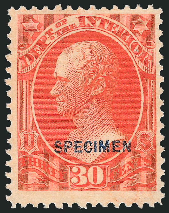Price of US Stamp Scott Catalog #O23 - 1873 30c Interior Official. Robert Siegel Auction Galleries, Mar 2015, Sale 1095, Lot 543