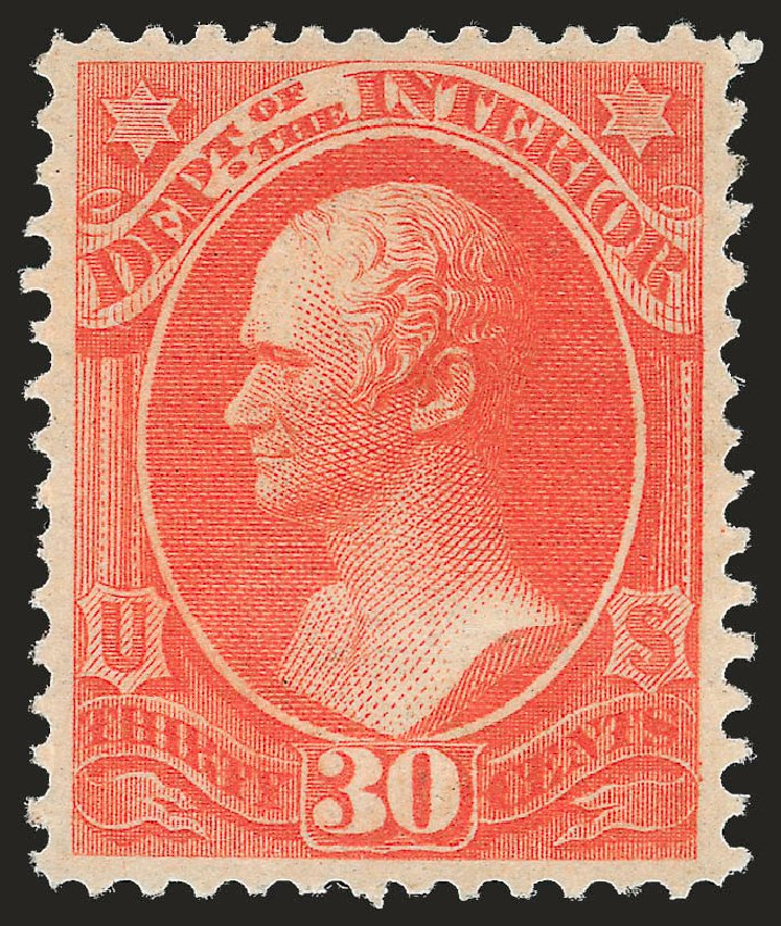 US Stamp Price Scott # O23: 30c 1873 Interior Official. Robert Siegel Auction Galleries, Sep 2009, Sale 976, Lot 2326