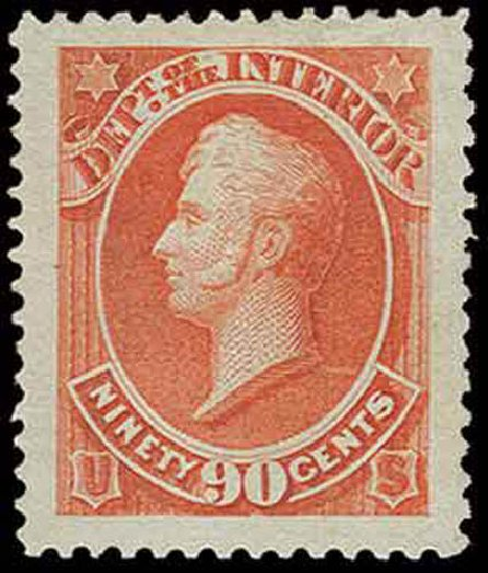 Price of US Stamps Scott Cat. O24 - 90c 1873 Interior Official. H.R. Harmer, Nov 2013, Sale 3004, Lot 1399
