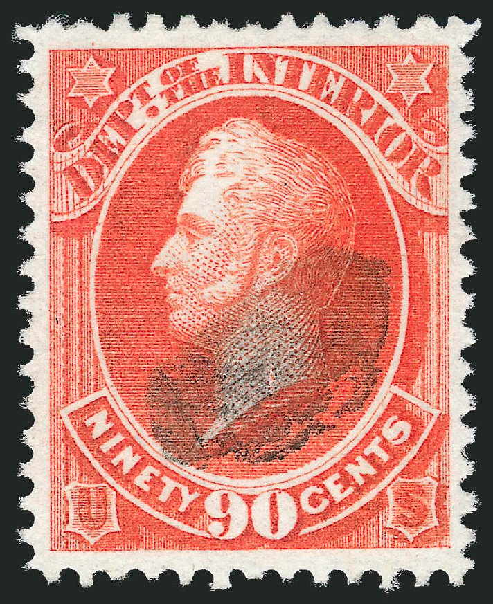 Value of US Stamps Scott Catalog O24: 1873 90c Interior Official. Robert Siegel Auction Galleries, Dec 2013, Sale 1062, Lot 829