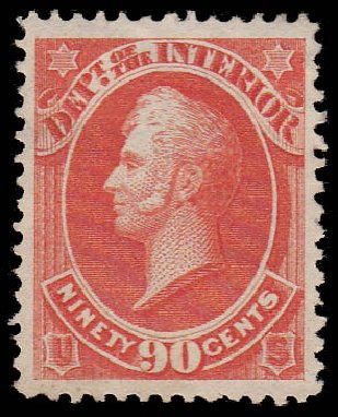 Price of US Stamp Scott # O24 - 1873 90c Interior Official. Daniel Kelleher Auctions, Jan 2015, Sale 663, Lot 2150