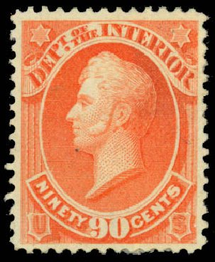US Stamps Price Scott Cat. #O24: 1873 90c Interior Official. Daniel Kelleher Auctions, Jan 2015, Sale 663, Lot 2151