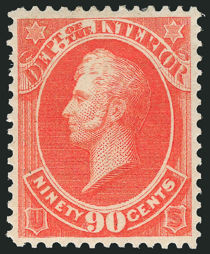 US Stamp Values Scott Cat. # O24 - 1873 90c Interior Official. Robert Siegel Auction Galleries, Nov 2013, Sale 1061, Lot 4154
