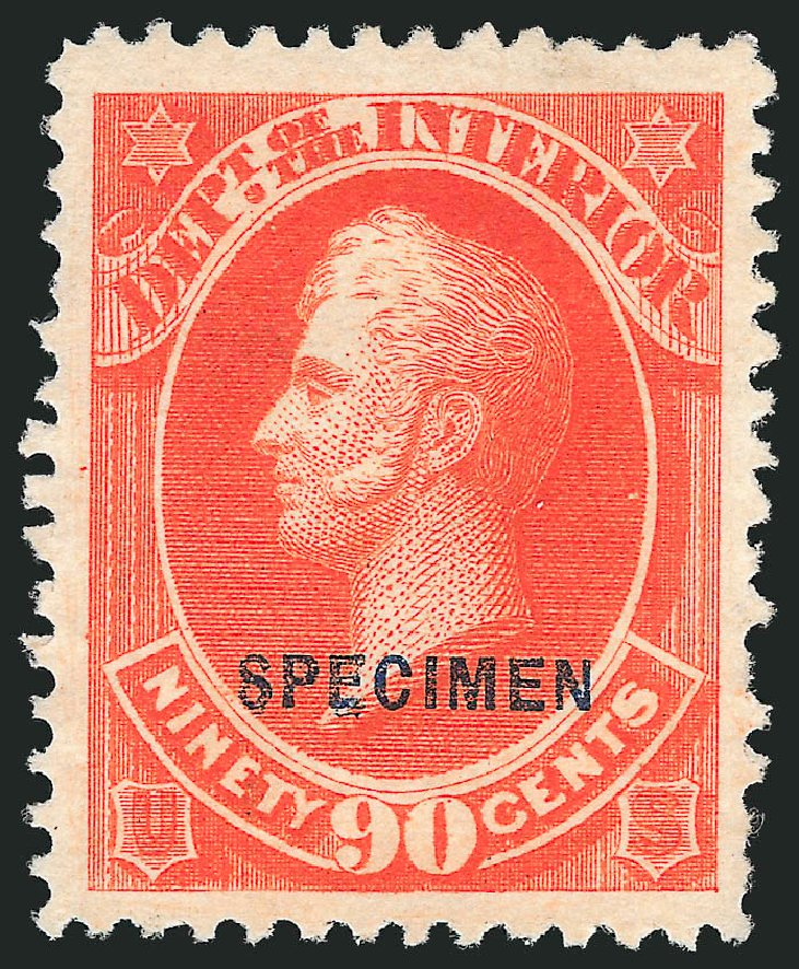 US Stamps Values Scott Catalog # O24: 1873 90c Interior Official. Robert Siegel Auction Galleries, Mar 2015, Sale 1095, Lot 544