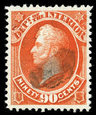 Values of US Stamps Scott Catalogue # O24 - 1873 90c Interior Official. Matthew Bennett International, Mar 2012, Sale 344, Lot 4815