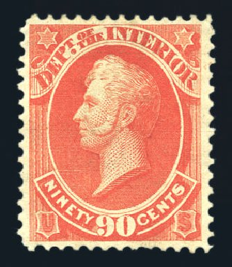 US Stamp Value Scott Cat. #O24 - 90c 1873 Interior Official. Harmer-Schau Auction Galleries, Aug 2015, Sale 106, Lot 2142