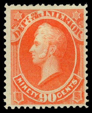 Costs of US Stamps Scott Catalogue O24 - 1873 90c Interior Official. Daniel Kelleher Auctions, Sep 2013, Sale 639, Lot 472