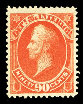 Cost of US Stamp Scott Cat. O24 - 90c 1873 Interior Official. Cherrystone Auctions, Jul 2015, Sale 201507, Lot 2216