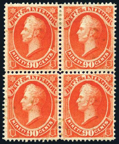 Prices of US Stamp Scott O24 - 1873 90c Interior Official. Harmer-Schau Auction Galleries, Aug 2011, Sale 90, Lot 1716