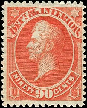 US Stamps Prices Scott O24 - 1873 90c Interior Official. Regency-Superior, Jan 2015, Sale 109, Lot 1546