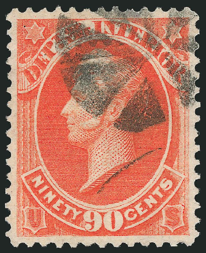 US Stamp Price Scott Cat. # O24 - 90c 1873 Interior Official. Robert Siegel Auction Galleries, Oct 2012, Sale 1032, Lot 3656