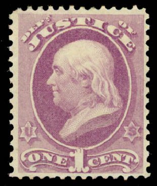 US Stamps Price Scott Catalogue O25 - 1c 1873 Justice Official. Daniel Kelleher Auctions, May 2015, Sale 669, Lot 3348
